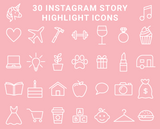 30 Instagram Highlight Icons - Blush Pink & White - Mimosa Designs