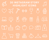 30 Instagram Highlight Icons - Pastel Peach and White