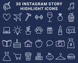30 Instagram Highlight Icons - Navy Blue and White