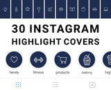 Navy blue, dark blue, minimalist instagram story highlight icons covers