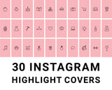 30 Instagram Highlight Icons - Blush Pink & Black - Mimosa Designs