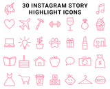 30 Instagram Highlight Icons - Bright Pink on White