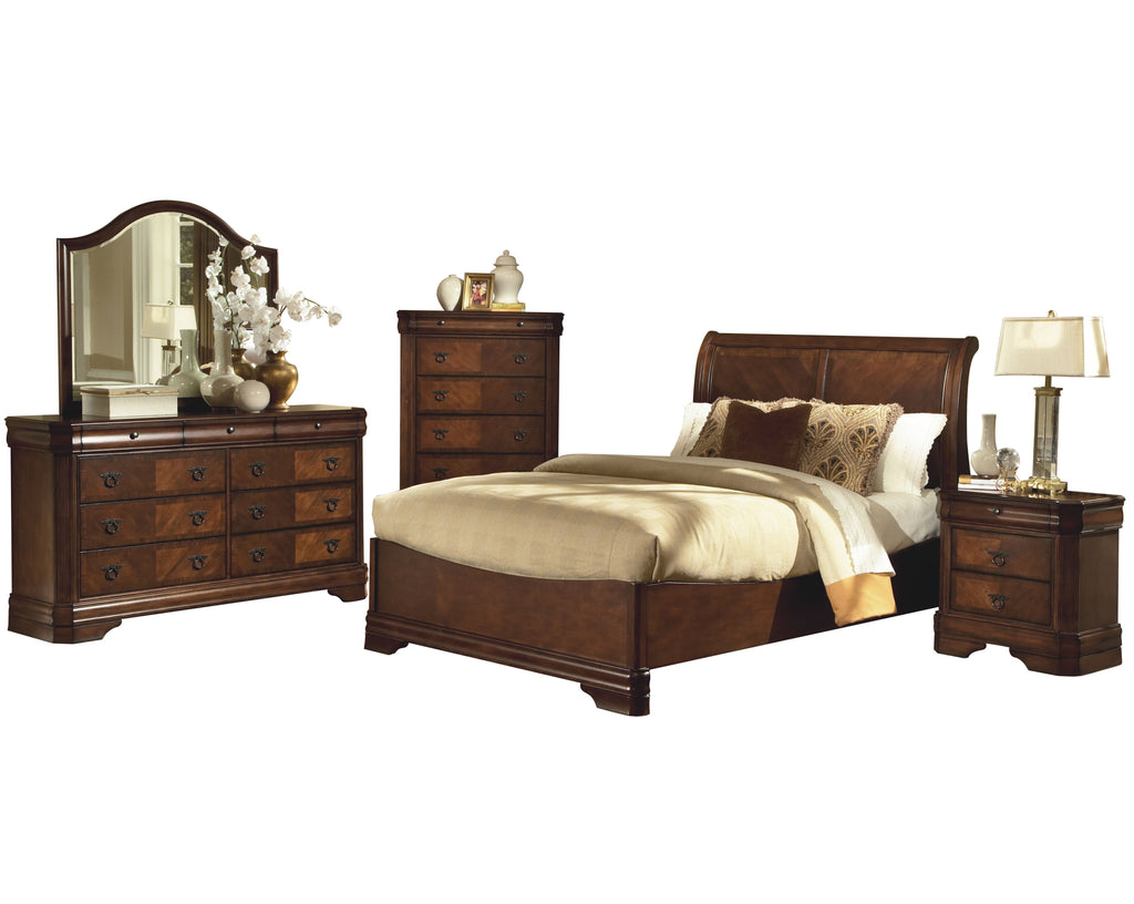 New Classic Sheridan 5PC Bedroom Set Cal King Sleigh Bed Dresser Mirror One Nightstand Chest in Burnished Cherry