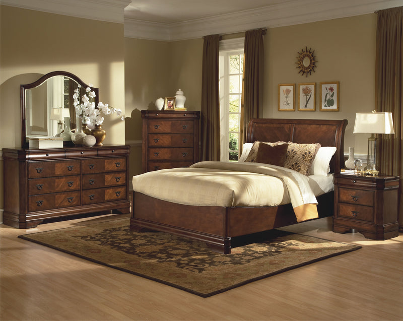 New Classic Sheridan 5PC Bedroom Set Queen Sleigh Storage Base Bed Dresser Mirror Two Nightstand in Burnished Cherry