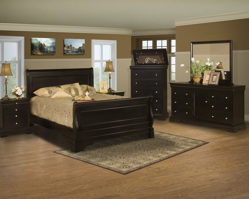 New Classic Belle Rose 4PC Bedroom Set Queen Storage Sleigh Bed Dresser Mirror One Nightstand in Black