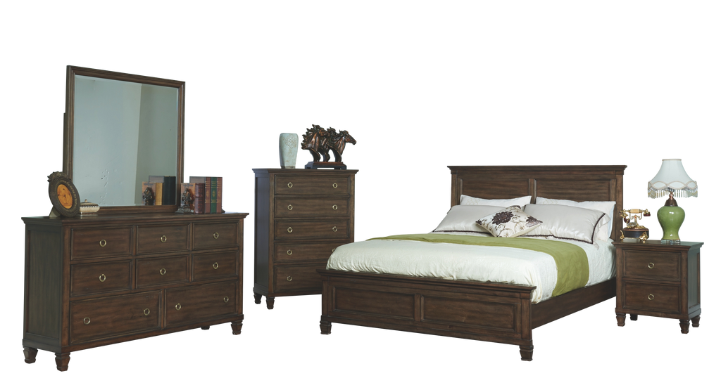 New Classic Tamarack 5PC Bedroom Set Cal King Bed Dresser Mirror One Nightstand Chest in Brown Cherry