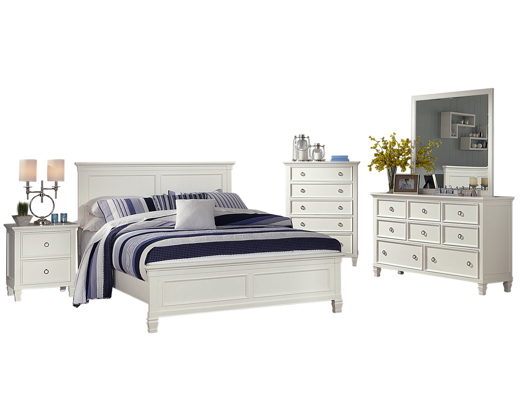 New Classic Tamarack 5PC Bedroom Set Cal King Bed Dresser Mirror One Nightstand Chest in White