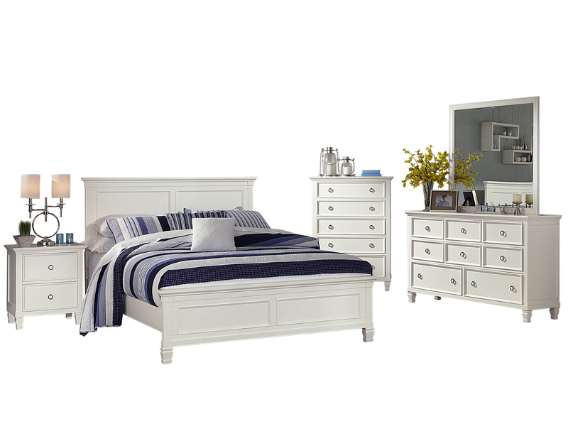New Classic Tamarack 5PC Bedroom Set E King Bed Dresser Mirror One Nightstand Chest in White