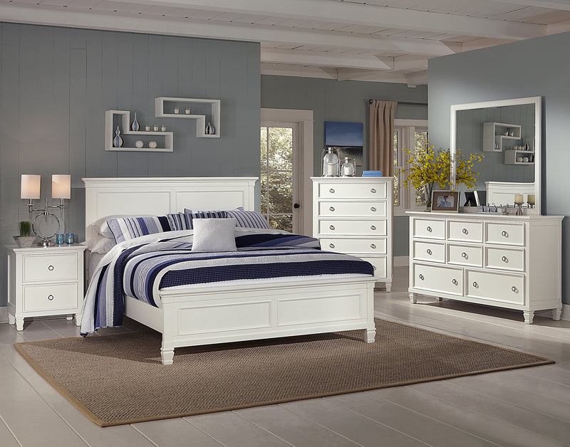 New Classic Tamarack 4PC Bedroom Set Cal King Bed Dresser Mirror One Nightstand in White