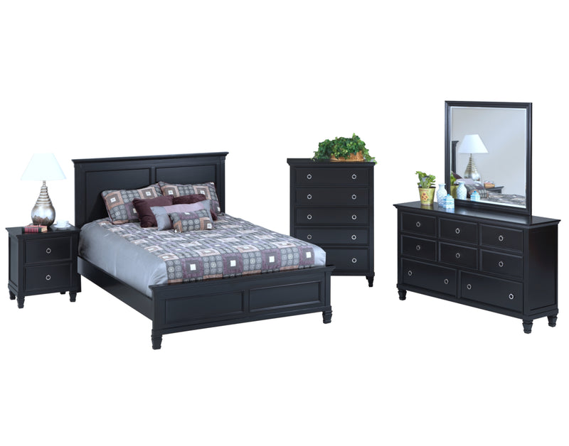 New Classic Tamarack 5PC Bedroom Set Cal King Bed Dresser Mirror One Nightstand Chest in Black