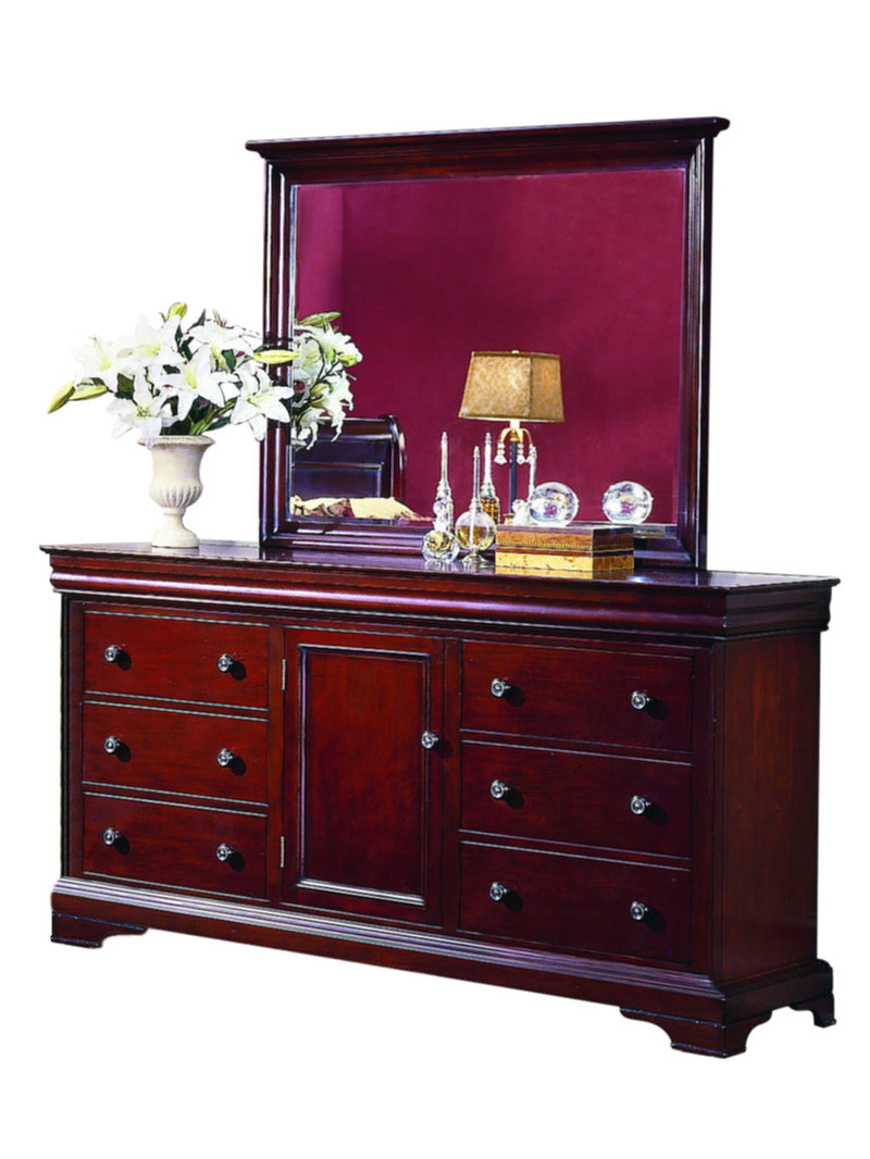 New Classic Versaille 6PC Bedroom Set Queen Sleigh Bed Dresser Mirror Two Nightstand Chest in Bordeaux