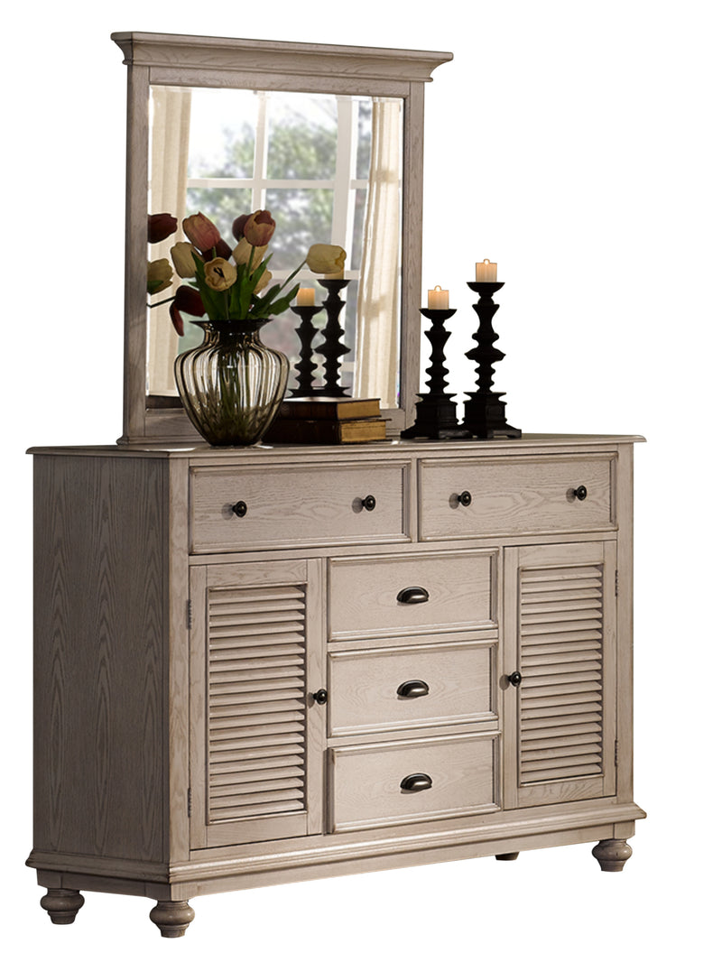New Classic Lakeport 5PC Bedroom Set Queen Bed Dresser Mirror One Nightstand Chest in Driftwood