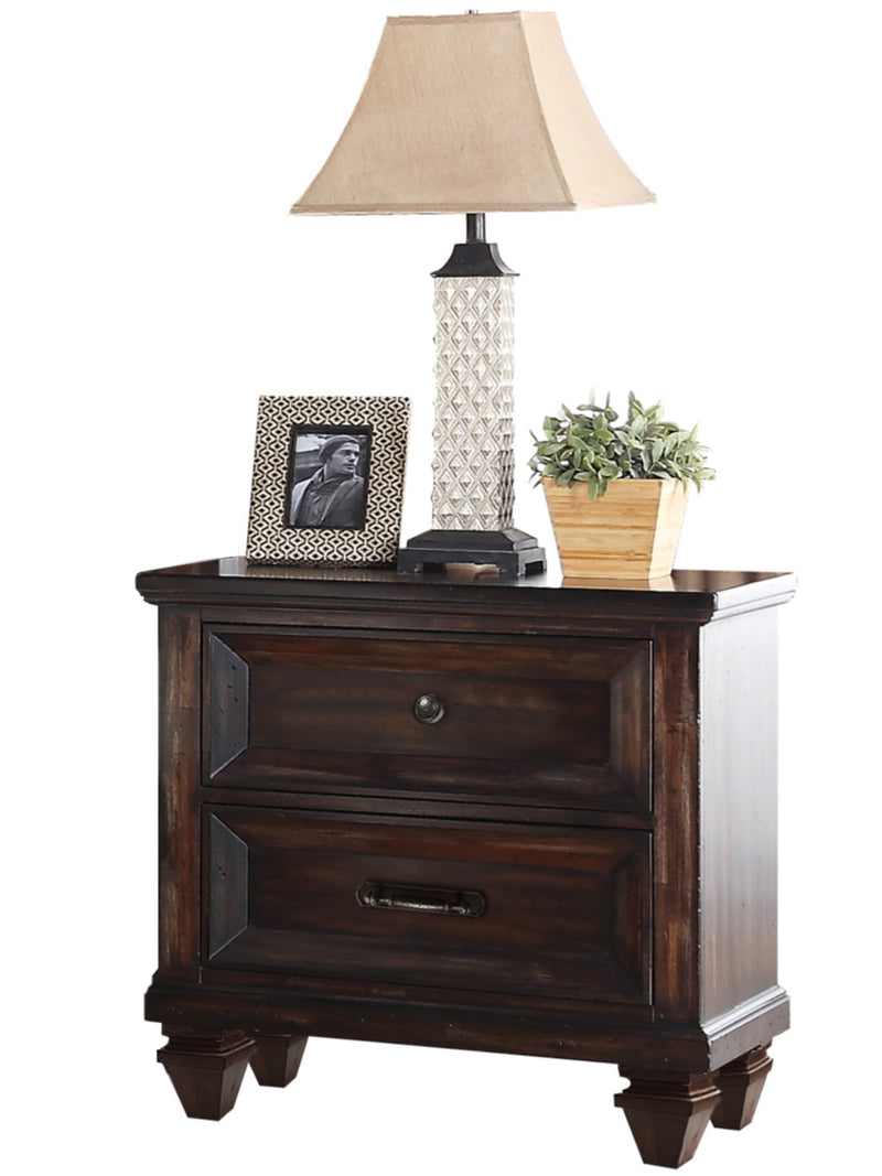 New Classic Sevilla 4PC Bedroom Set E King Bed Dresser Mirror One Nightstand in Distressed Walnut