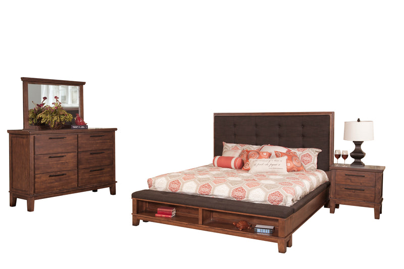 New Classic Cagney 4PC Bedroom Set E King Bed Dresser Mirror One Nightstand in Chestnut