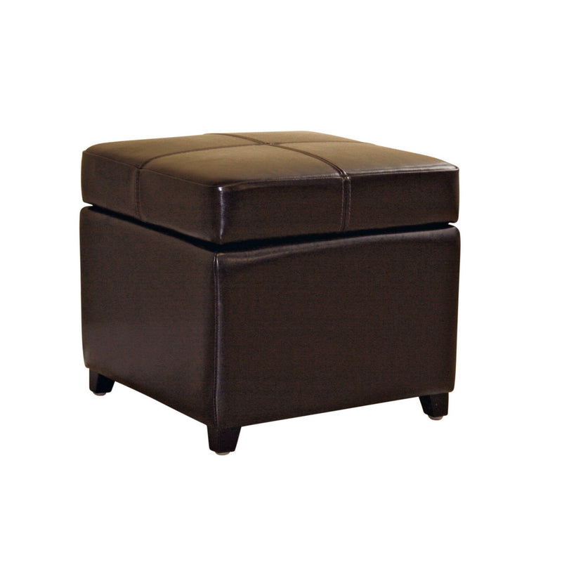 Contemporary Storage Ottoman Cube in Dark Brown Leather