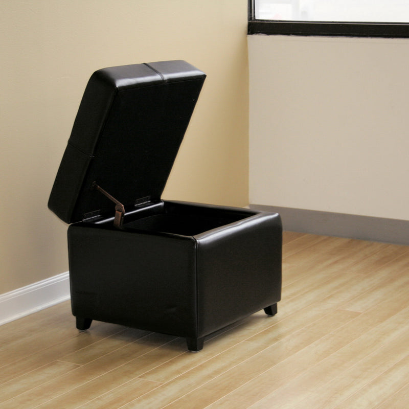 Contemporary Storage Ottoman Cube in Black Leather