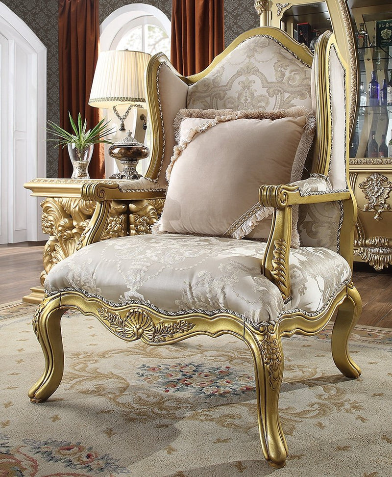Fabric Chair in Metallic Bright Gold Finish C105 European Traditional Victorian