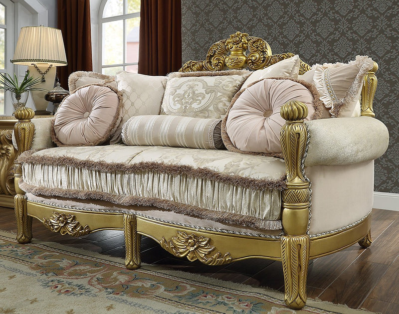 Fabric Loveseat in Metallic Bright Gold Finish L105 European Traditional Victorian