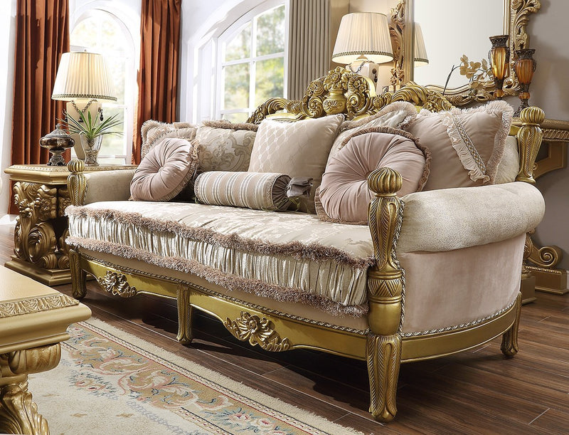 Fabric Sofa in Metallic Bright Gold Finish S105 European Traditional Victorian