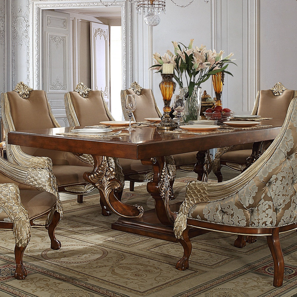 Dining Table in Brown Cherry Finish D124 European Traditional Victorian