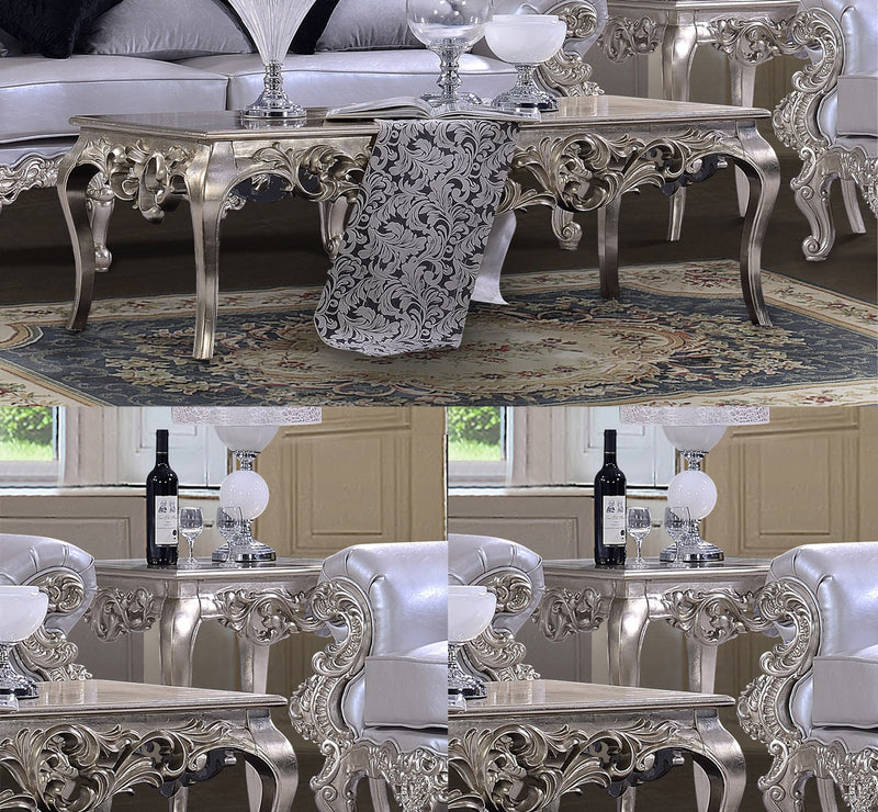 3 PC Coffee Table Set in Belle Silver Finish 13006-CTSET3 European Victorian