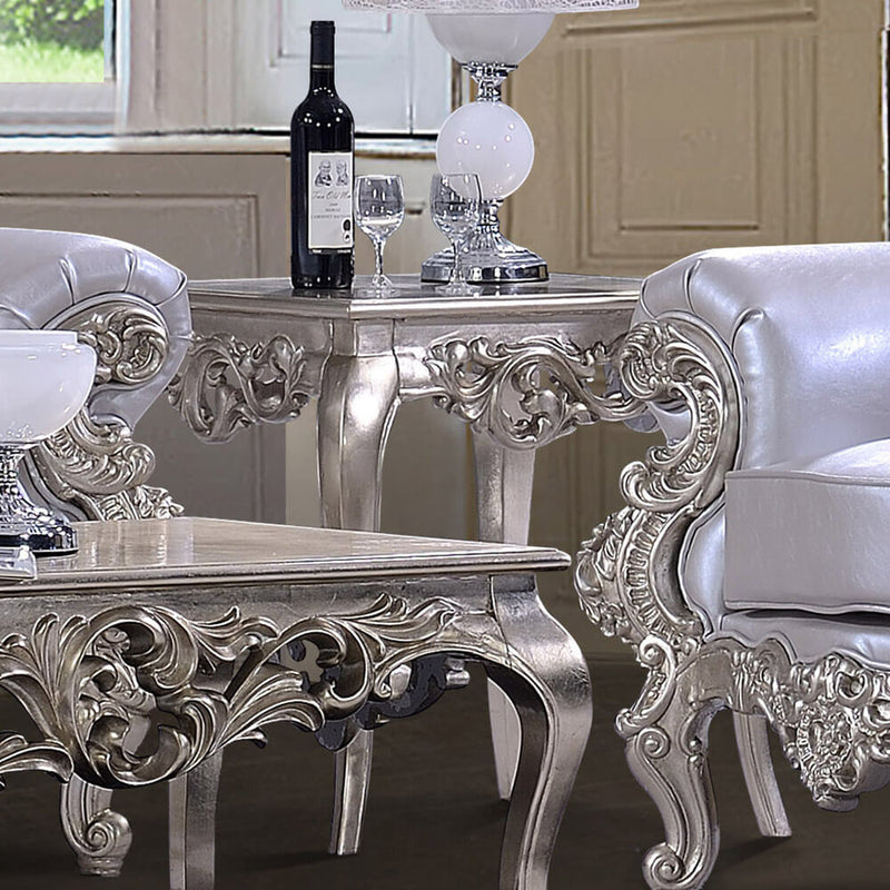 End Table in Belle Silver Finish E13006 European Traditional Victorian
