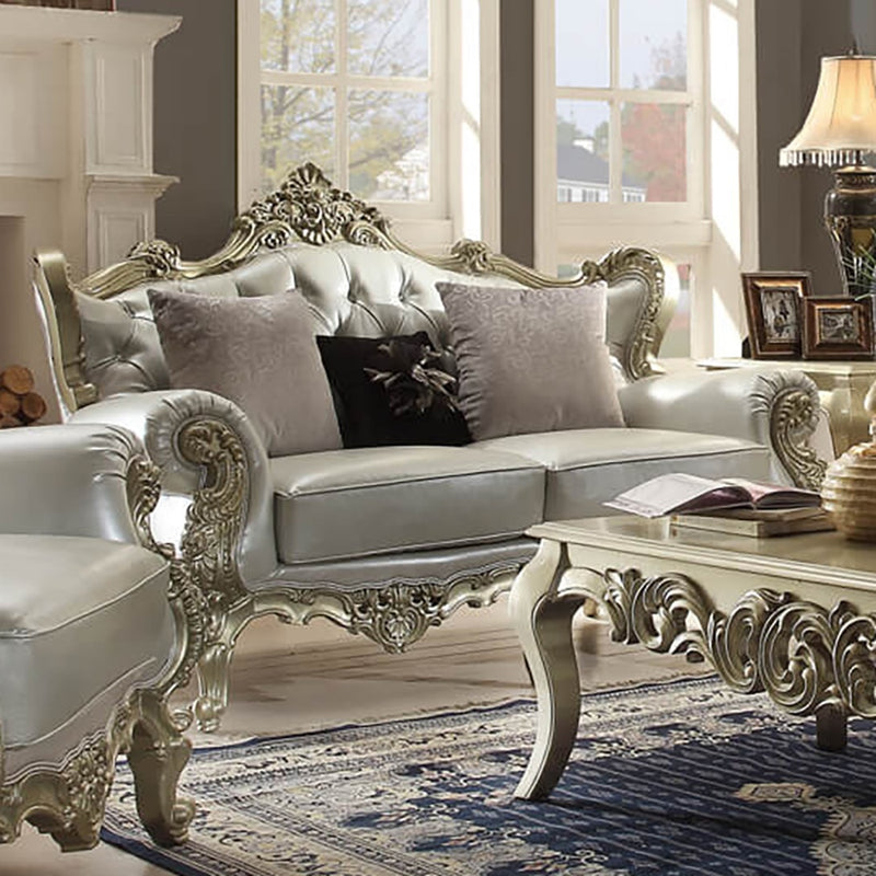 Leather Loveseat in Belle Silver Finish L13006 European Traditional Victorian
