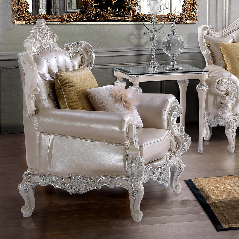 Leather Accent Chair in Antique White & Metallic Silver Finish C13009 European