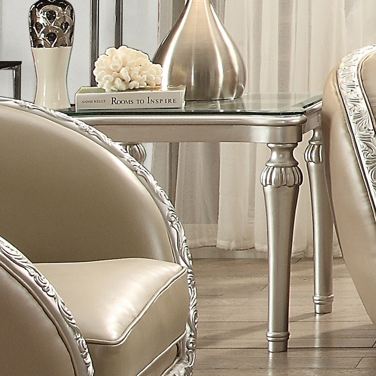 End Table in Antique White & Metallic Silver Finish E13009 European Victorian