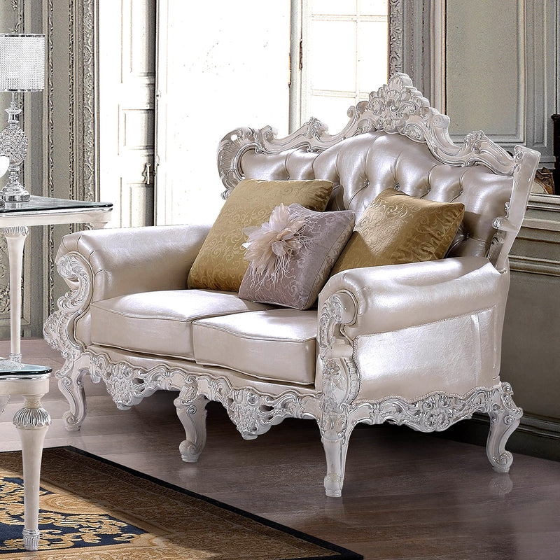 Leather Loveseat in Antique White & Metallic Silver Finish L13009 European