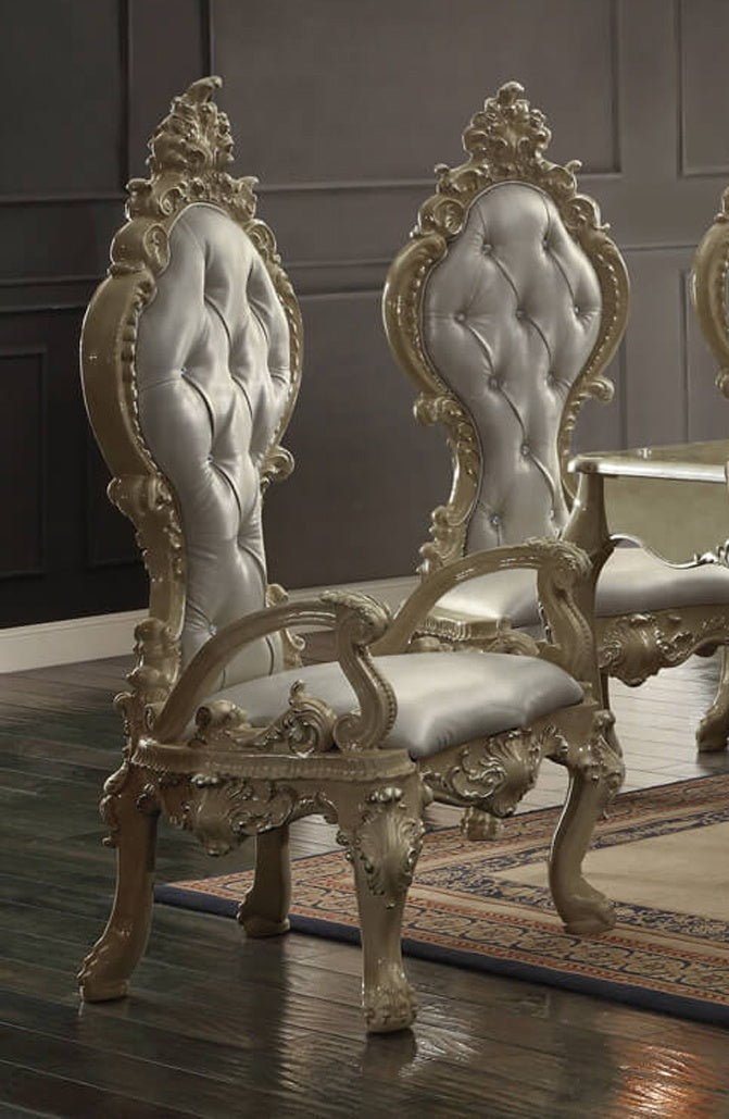 Leather Arm Chair in Champagne Gold Finish AC13012-GOLD European Victorian