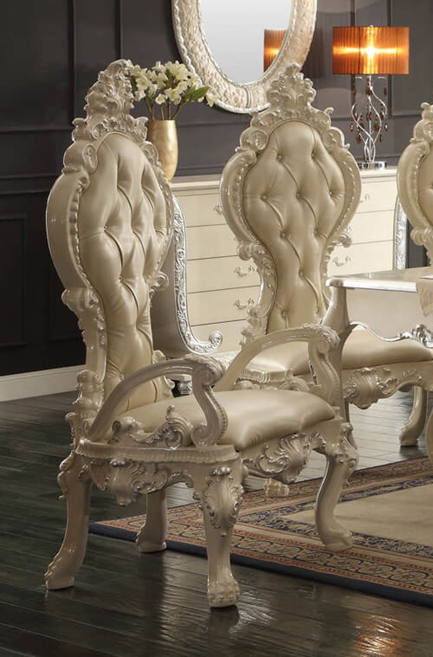 Leather Arm Chair in Antique White & Metallic Silver Finish AC13012-IVORY European