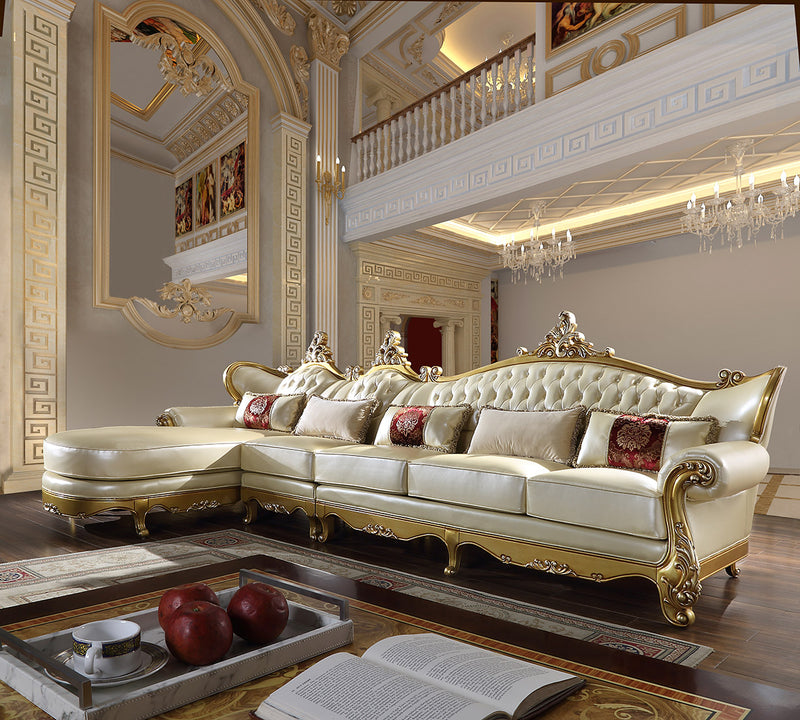 Leather 3 PC Sectional Sofa in Metallic Antique Gold Finish SEC132 European