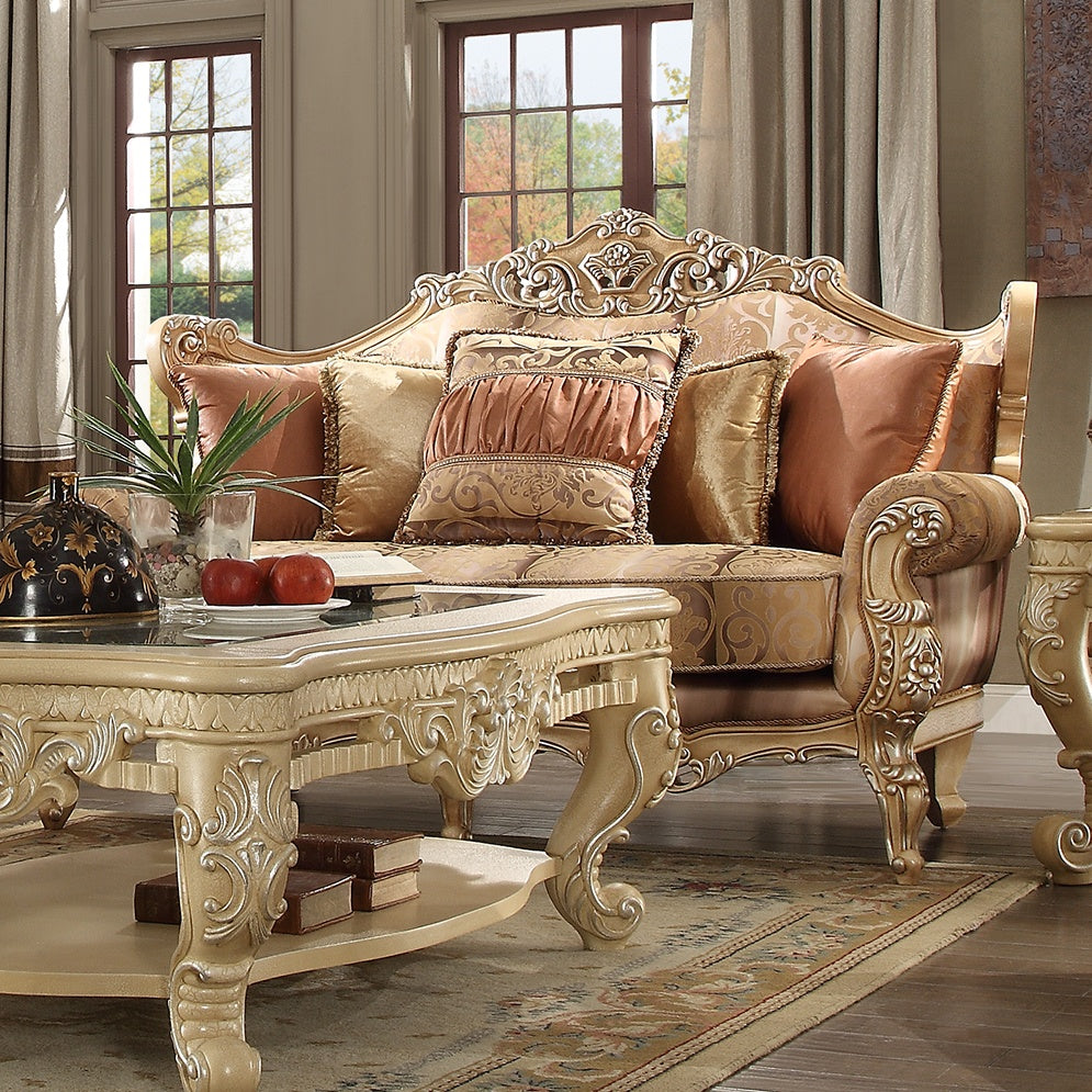 Fabric Loveseat in Frost Cream Finish L1633 European Traditional Victorian