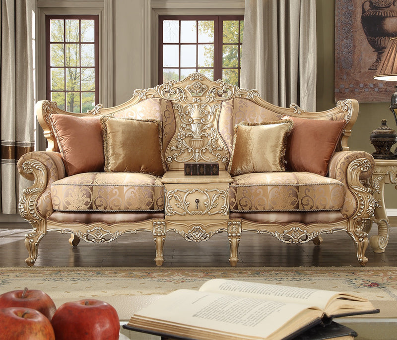 Fabric Sofa in Frost Cream Finish S1633 European Traditional Victorian