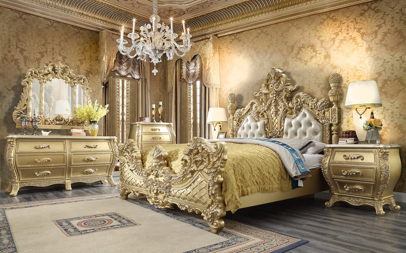 Leather Cal King 5 PC Bedroom Set in Antique Gold Finish 1801-BSET5-CK European