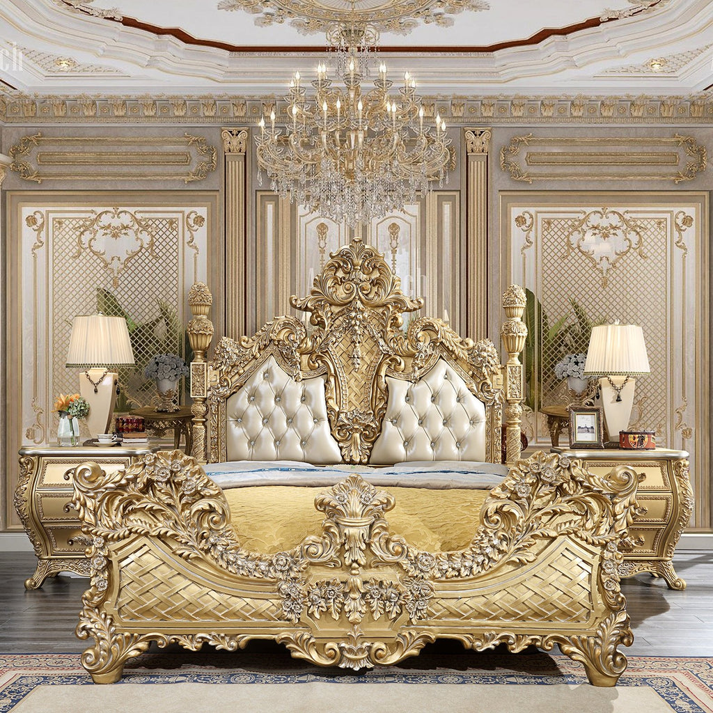 Leather Eastern King Bed in Metallic Antique Gold Finish EK1801 European Victorian