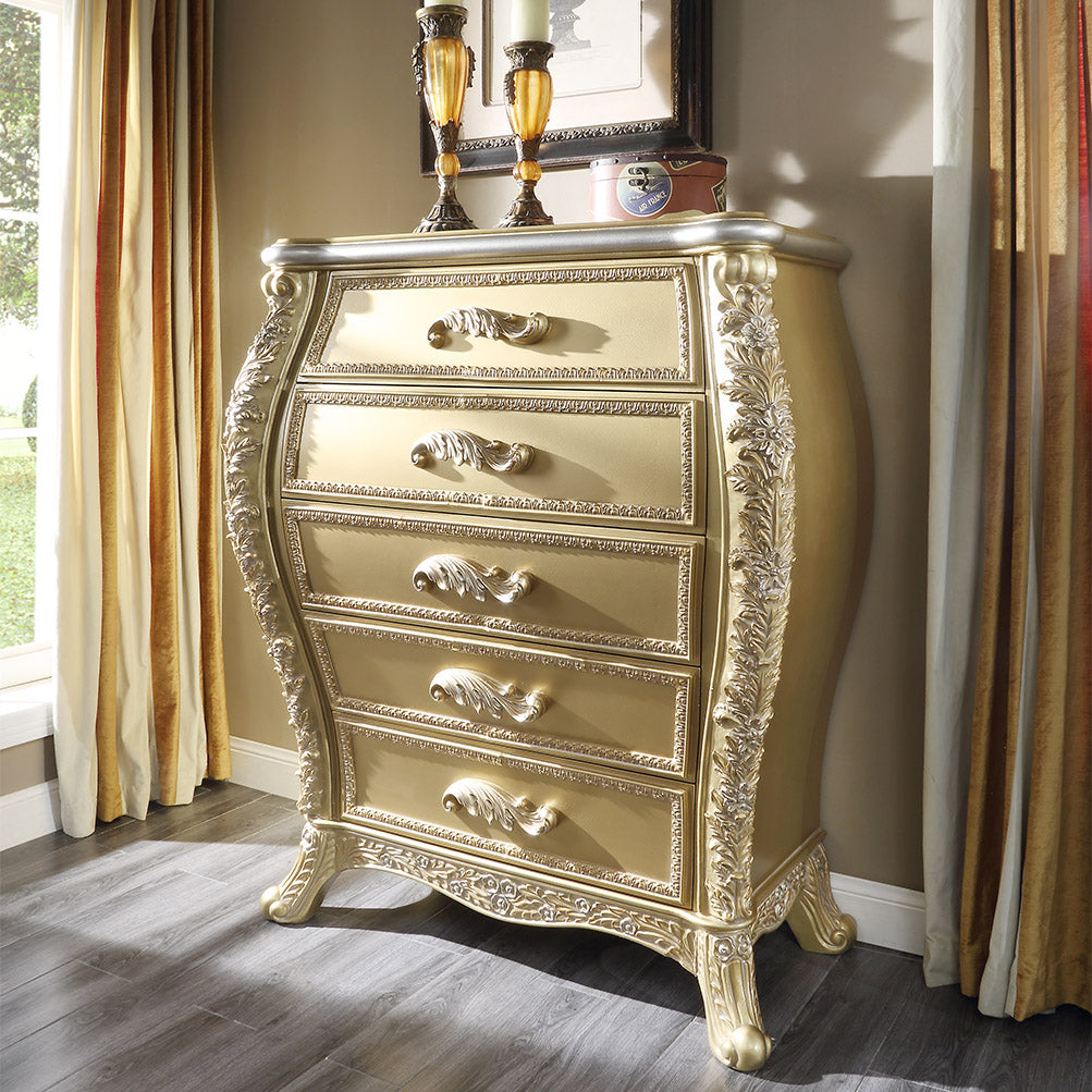 Chest in Metallic Antique Gold Finish CHE1801 European Traditional Victorian