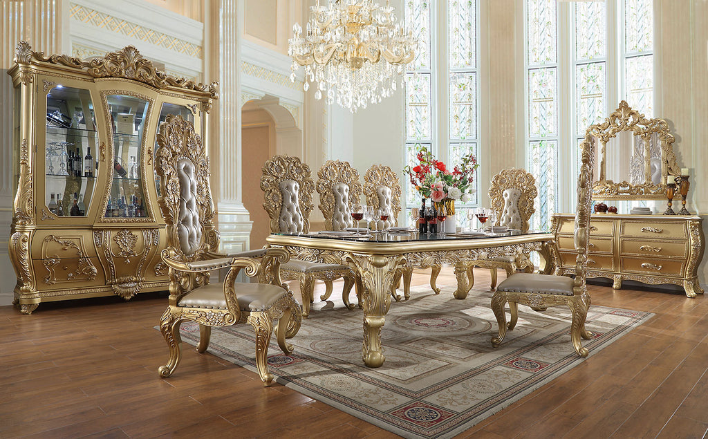 9 PC Dining Table Set in Metallic Antique Gold Finish w Leather Seat 1801-9PC-DN
