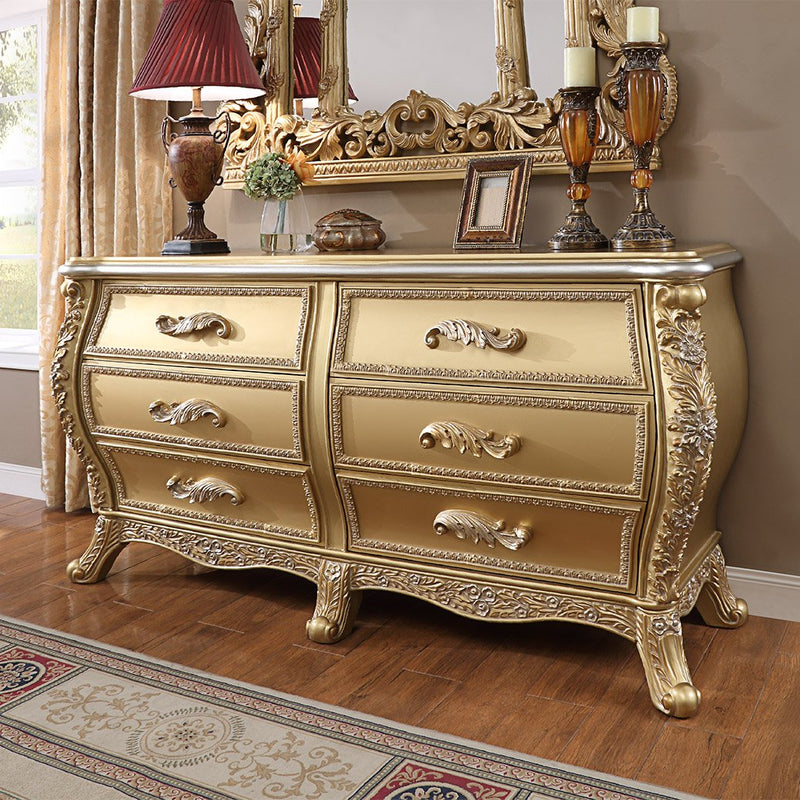 Dresser in Metallic Antique Gold Finish DR1801 European Traditional Victorian