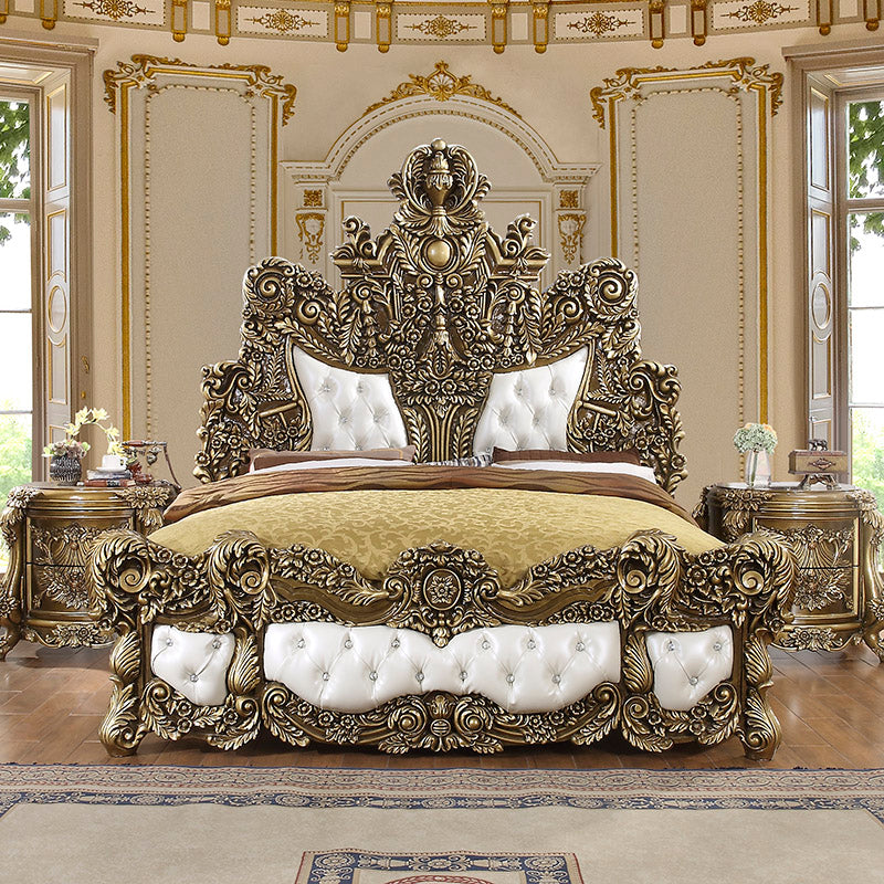 Leather Eastern King Bed in Brown Finish EK1802 European Traditional Victorian