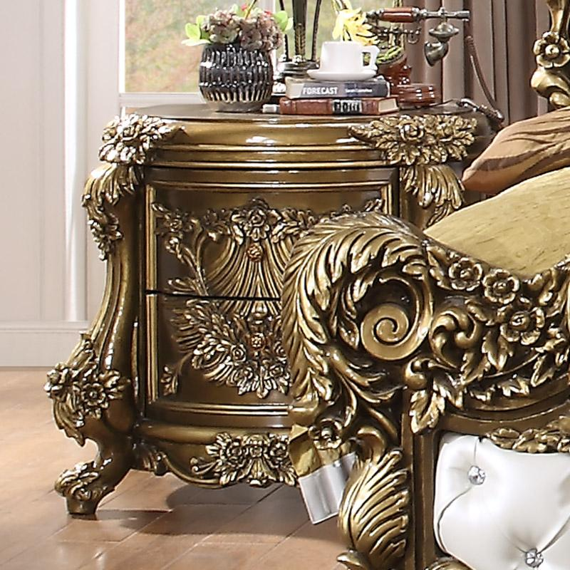 Nightstand in Brown Finish N1802 European Traditional Victorian