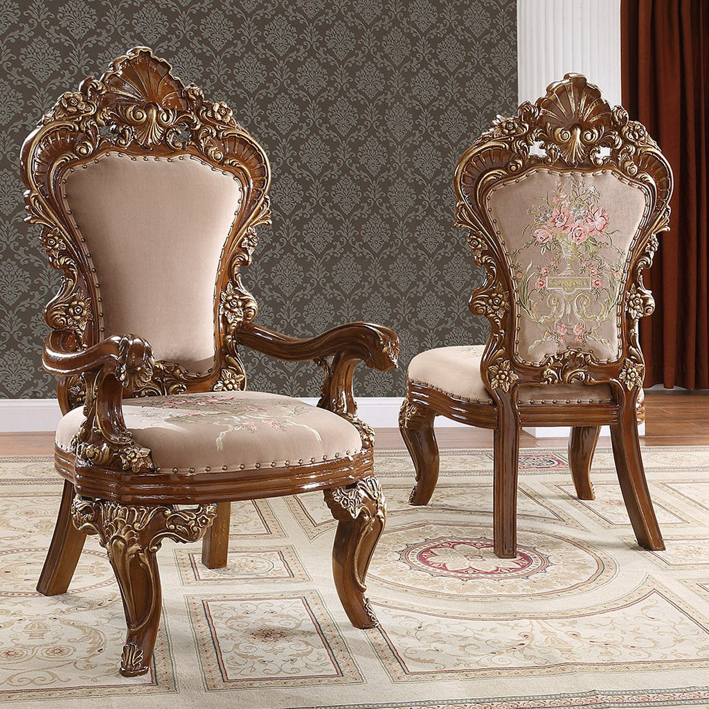 Fabric Arm Chair in Dark Mocha & Met Antique Gold Finish AC1803 European