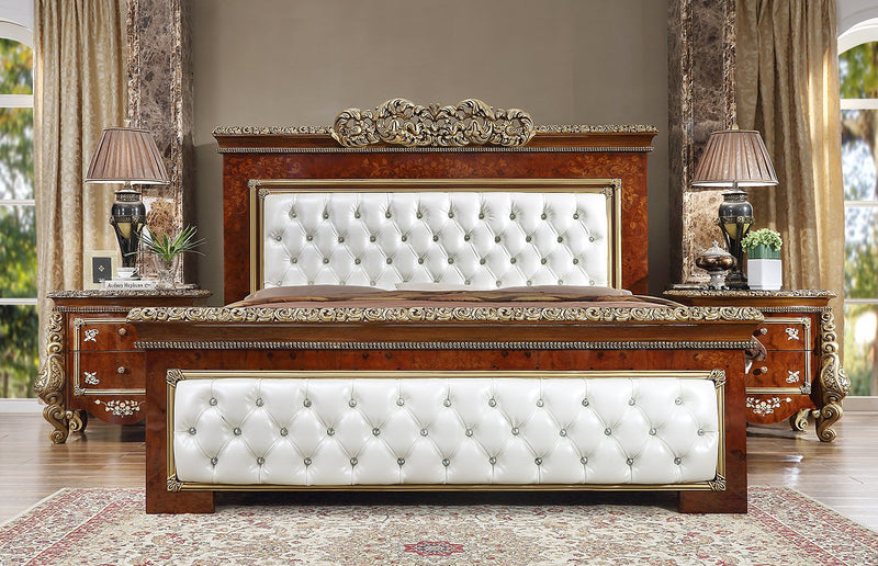 Leather Cal King Bed in Burl & Metallic Antique Gold Finish CK1803 European