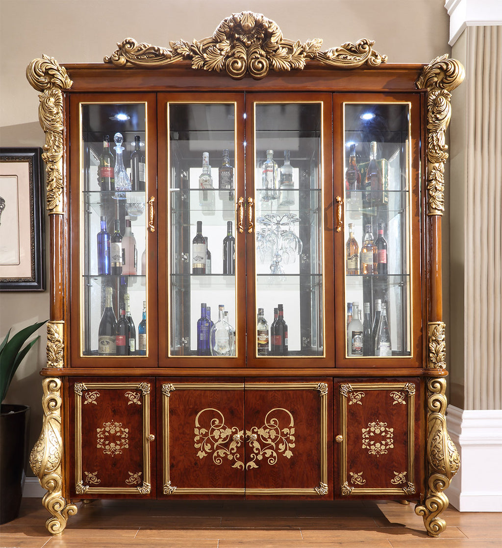 China Cabinet in Burl & Metallic Antique Gold Finish CH1803 European Victorian