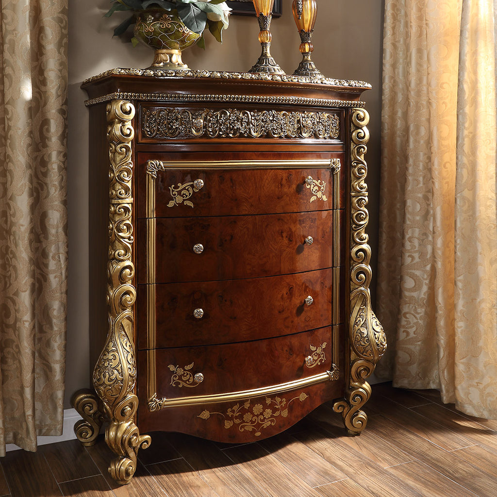 Chest in Burl & Metallic Antique Gold Finish CHE1803 European Traditional Victorian
