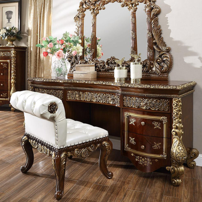 Leather Cal King 5 PC Bedroom Set in Burl & Antique Gold CK1803-5PC-BD European