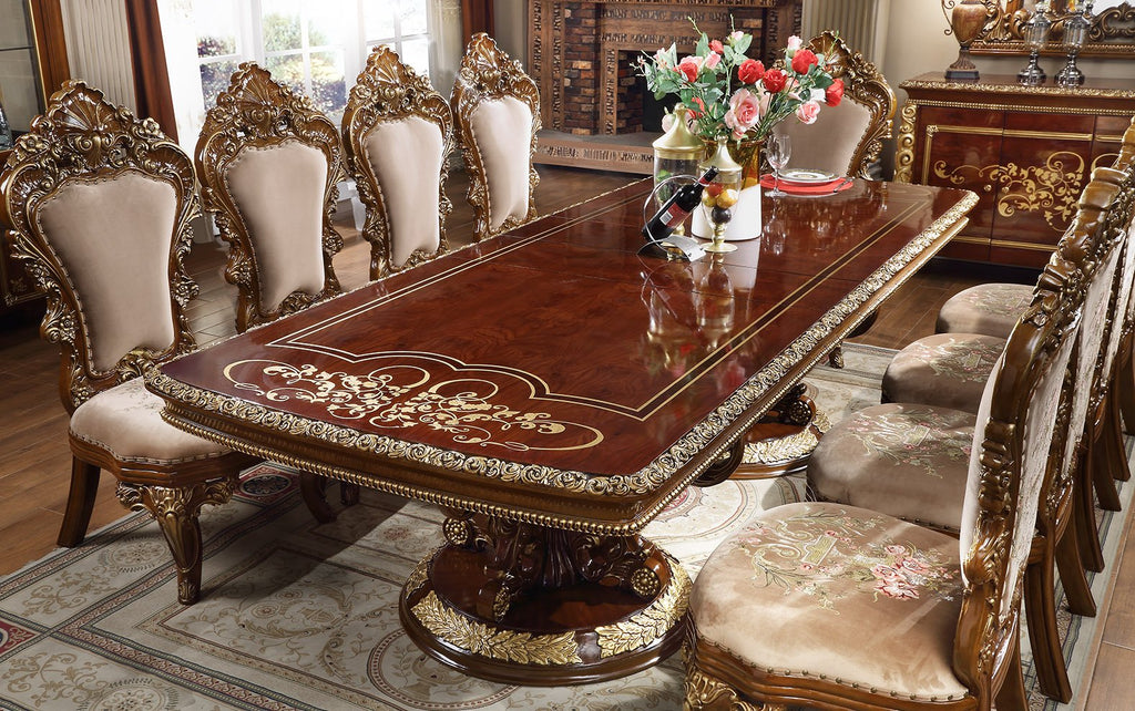 Rectangle Dining Table in Burl & Metallic Antique Gold Finish DT1803 European