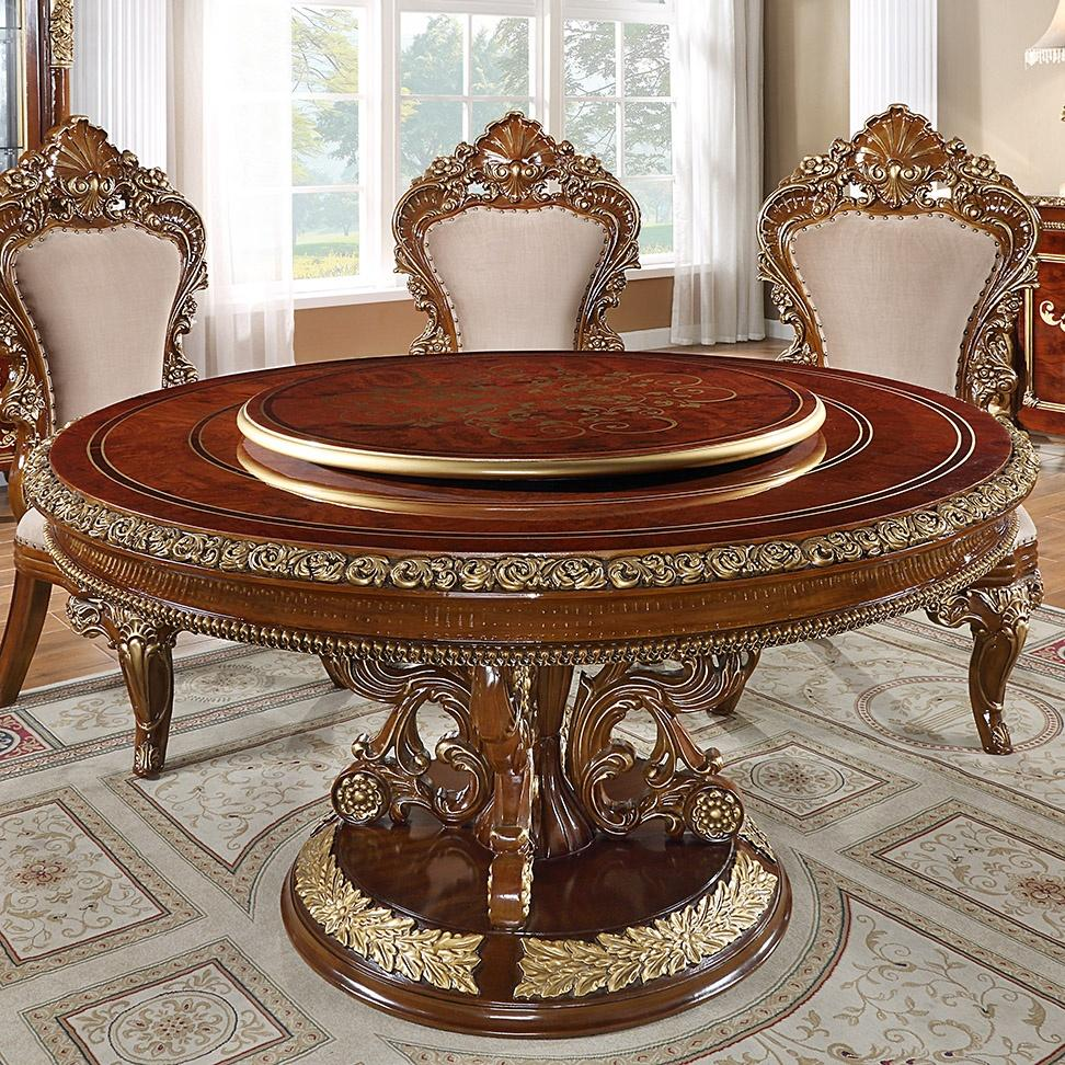 Round Dining Table in Burl & Metallic Antique Gold Finish RT1803 European
