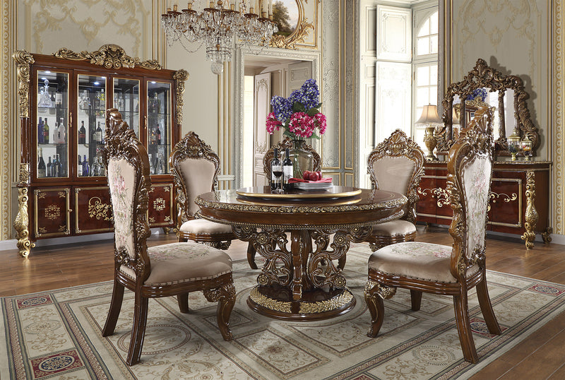 5 PC Round Dining Set in Burl & Antique Gold Finish w Fabric Seat 1803-5PC-RD